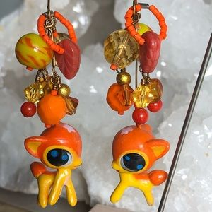Dottie the deer hand made earrings OOAK